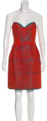 Oscar de la Renta Embroidered Strapless Dress Terracotta Embroidered Strapless Dress
