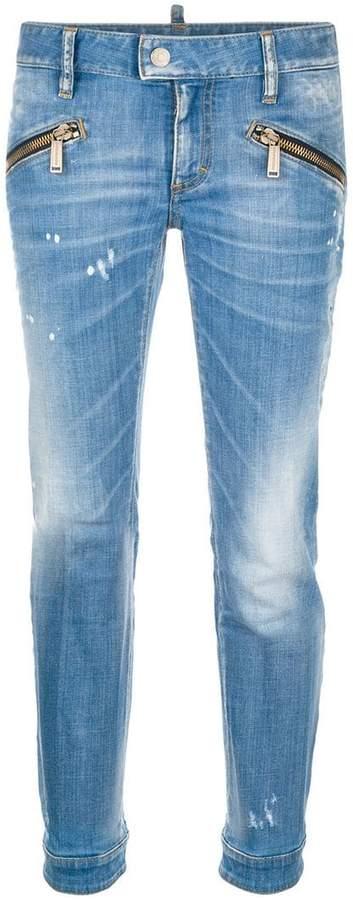 zip embellished jeans