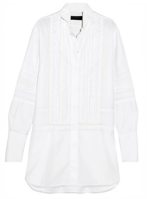Burberry - Pintucked Macramé Lace-paneled Cotton Shirt - White $1,195 thestylecure.com