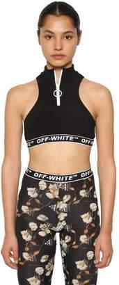 Off-White Active Zip-Up Ribbed Bikini Top