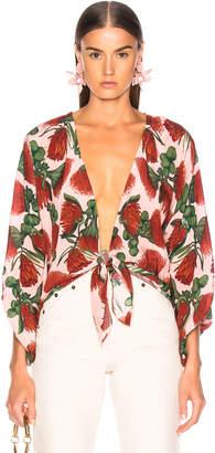 Adriana Degreas ADRIANA DEGREAS Fiore Shirt With Voluminous Sleeves in Rose | FWRD