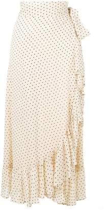 Ganni draped polka dot skirt