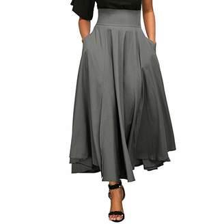Fitfulvan Dress Fitfulvan Women High Waist Pleated A Line Long Skirt Slit Belted Maxi Skirt