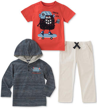 Kids Headquarters 3-Pc. Striped Hoodie, Monster-Print T-Shirt & Pants, Baby Boys