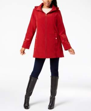Jones New York Petite Water Resistant Hooded Raincoat
