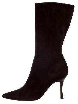 Manolo Blahnik Suede Pointed-Toe Boots