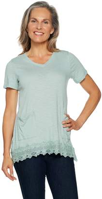 Logo By Lori Goldstein LOGO by Lori Goldstein Slub Knit Top w/ Lace Trim & Patch Pockets
