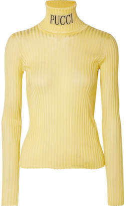Emilio Pucci Intarsia Ribbed-knit Turtleneck Sweater - Pastel yellow