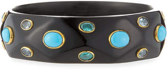 Ashley Pittman Tabaka Turquoise Dark Horn Bangle Bracelet