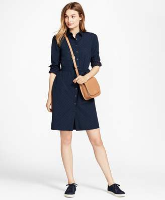 Dobby-Dot Cotton Shirt Dress $88 thestylecure.com
