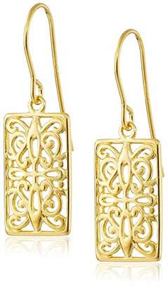 Celtic 18k Gold Plated 925 Sterling Silver Rectangle Drop Earrings