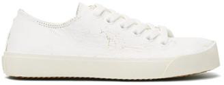 Maison Margiela White and Gold Tabi Sneakers