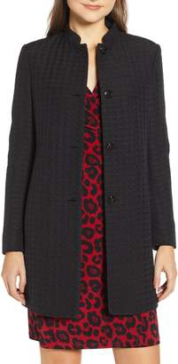 Anne Klein Textured Houndstooth Nehru Jacket