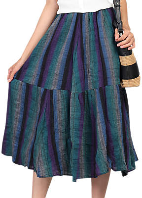 Jolie Moi Tiered Midi Skirt, Blue/Multi