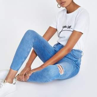 River Island Womens Bright blue Harper super skinny ripped jeans