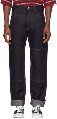 Junya Watanabe Indigo Carhartt Edition Linen Denim Mix Jeans