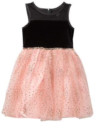 3ac684a8db Zunie Sleeveless Velvet Glitter Mesh Dress (Little Girls)