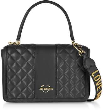 3c18e61333c0e Love Moschino Quilted Eco Leather Top Handle Bag
