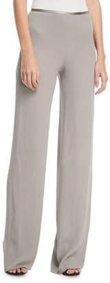 Giorgio Armani Side-Zip Crinkled Cady Wide-Leg Pants