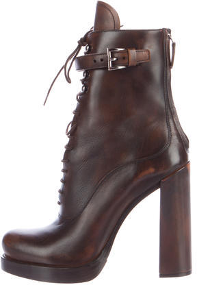 pradaPrada Leather Lace-Up Ankle Boots