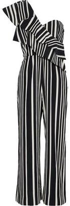 Alice + Olivia Alice+olivia Sabeen One-Shoulder Ruffled Striped Cotton-Blend Jumpsuit