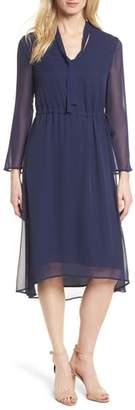 Anne Klein Sheer Overlay Tie Dress