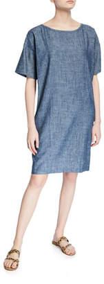 Eileen Fisher Chambray Short-Sleeve Shift Dress