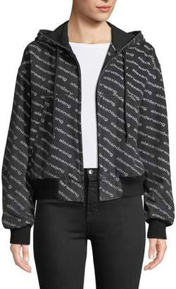 Alexander Wang Logo-Print Hooded Bomber Jacket