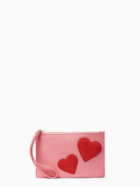 On purpose heart mini leather wristlet