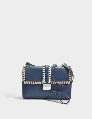 HUGO BOSS Greta Shoulder Bag in Medium Blue Plain Cow Skin with Woven Details