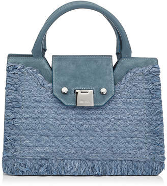 Jimmy Choo REBEL TOTE/S Dusk Blue Suede and Raffia Tote Bag