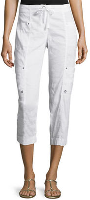 Eileen Fisher Drawstring Cropped Cargo Pants, White $228 thestylecure.com