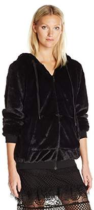 KENDALL + KYLIE Women's Faux Fur Zip up Hoodie