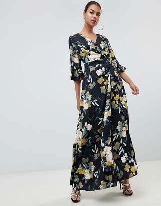 PrettyLittleThing tie waist maxi dress floral