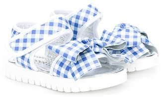 Simonetta check bow detail sandals