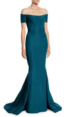 Zac Posen Off-the-Shoulder Silk Faille Mermaid Evening Gown