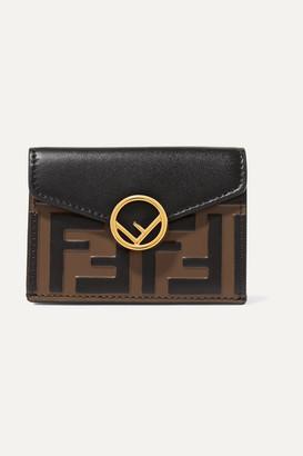 Fendi Embellished Embossed Leather Wallet - Black