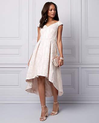 Le Château Jacquard Cold Shoulder High-Low Dress