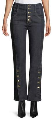 Jonathan Simkhai E-Cig Rinsed Denim Button-Fly Jeans