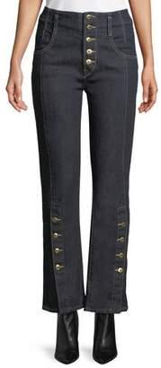 Jonathan Simkhai E-Cig Rinsed Denim Button-Fly Jeans