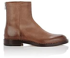 Maison Margiela Men's Leather Back-Zip Boots-Brown