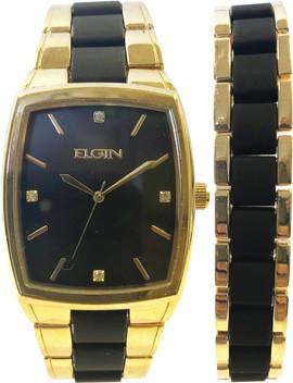 Elgin Mens Black/goldtone Watch