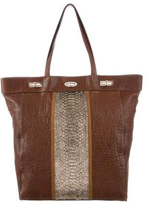 VBH Python-Trimmed Leather Tote