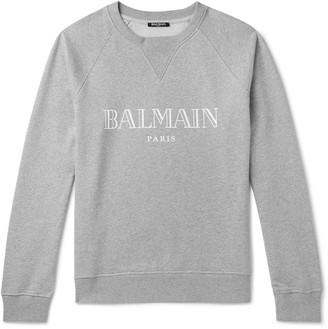 Balmain Logo-Print Melange Loopback Cotton-Jersey Sweatshirt - Men - Gray