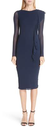 Fuzzi Asymmetrical Ruffle Long Sleeve Dress