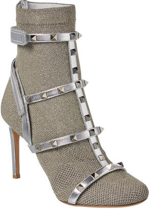 Valentino Rockstud Stretch Knit Leather-Trimmed Bootie