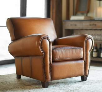 Pottery Barn Manhattan Leather Armchair with Nailheads