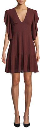 MICHAEL Michael Kors Cascade-Sleeve V-Neck Dress
