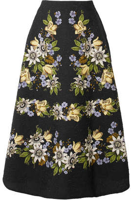 Erdem Tiana Floral-print Cloqué Midi Skirt - Black