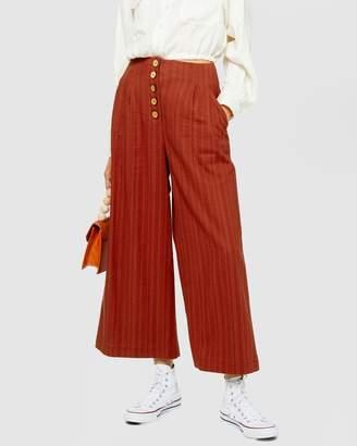 Topshop Cotton-Linen Stripe Cropped Wide Leg Pants